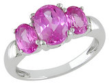 Created Pink Sapphire Three-stone Ring 5.0 Carat (ctw) in Sterling Silver