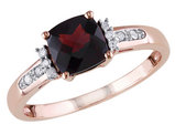 Garnet and Diamond 1.40 Carat (ctw) Cushion Cut Ring in 10K Rose Gold