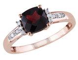 1.40 Carat (ctw) Garnet & Diamond Ring in 10K Rose Pink Gold