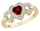 Garnet and Diamond Heart Ring 3/5 Carat (ctw) in 10K Yellow Gold