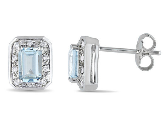 1.10 Carat (ctw) Emerald Cut Aquamarine Stud Earrings with Diamonds in Sterling Silver