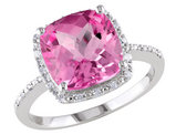 Created Pink Sapphire with Diamonds 5.80 Carat (ctw) in Sterling Silver