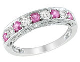 Created Pink Sapphire and Created White Sapphire Ring 1.25 Carat (ctw) in Sterling Silver