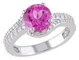 Created Pink Sapphire and Created White Sapphire Ring 2.80 Carats (ctw) with Diamonds in Sterling Silver