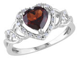 Garnet Heart Ring 1.50 Carats (ctw) in Sterling Silver