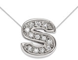 Sterling Silver Letter S Initial Charm Pendant Necklace with Cubic Zirconia (CZ) and chain