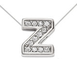 Sterling Silver Letter Z Initial Charm Pendant Necklace with Cubic Zirconia (CZ) and chain