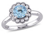 Solitaire Halo Blue Topaz Ring 1 1/4 Carat (ctw) in 10K White Gold