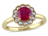 Solitaire Halo Created Ruby Ring 1 1/4 Carat (ctw) in 10K Yellow Gold