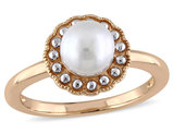 White Freshwater Cultured Pearl 6.0mm Ring in 10K Pink Gold