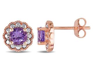 Amethyst Halo Stud Earrings 4/5 Carat (ctw) in 10K Pink Gold