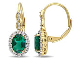 Created Emerald and White Topaz LeverBack Earrings 2 1/4 Carat (ctw) with Diamonds in 14K Yellow Gold
