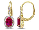 Created Ruby and White Topaz LeverBack Earrings 3 3/8 Carat (ctw) with Diamonds in 14K Yellow Gold