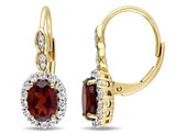 Garnet and White Topaz LeverBack Earrings 2 3/4 Carat (ctw) with Diamonds in 14K Yellow Gold