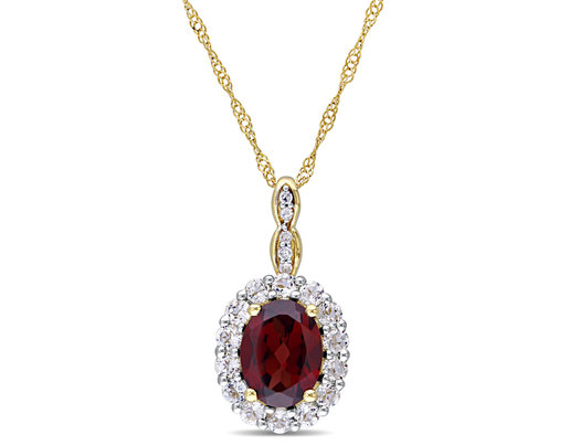 Garnet and White Topaz Fashion Pendant 2 Carat (ctw) with Diamonds in 14K Yellow Gold With Chain