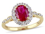 2.65 Carat (ctw) Lab Created Ruby and White Topaz Ring with Diamonds in 14K Yellow Gold