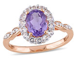Amethyst and White Topaz Fashion Ring 1.65 Carat (ctw) with Diamonds in 14K Pink Gold