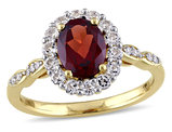 Garnet and White Topaz Fashion Ring 2 Carat (ctw) with Diamonds in 14K Yellow Gold