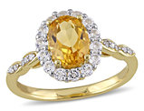 Citrine and White Topaz Fashion Ring 1 4/5 Carat (ctw) with Diamonds in 14K Yellow Gold