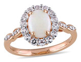 Opal and White Topaz Fashion Ring 1 1/2 Carat (ctw) with Diamonds in 14K Pink Gold