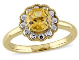 Citrine Halo Ring 1 Carat (ctw) in 10K Yellow Gold