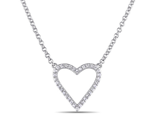 White Sapphire Heart Necklace in Sterling Silver with Chain