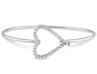 White Sapphire Heart Bangle Bracelet in Sterling Silver