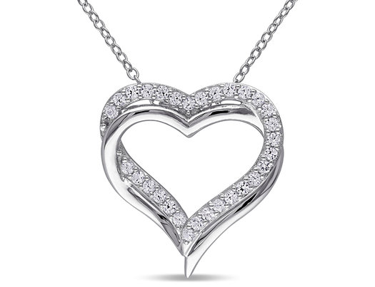 Created White Sapphire 5/8 Carat (ctw) Pendant Necklace in Sterling Silver With Chain