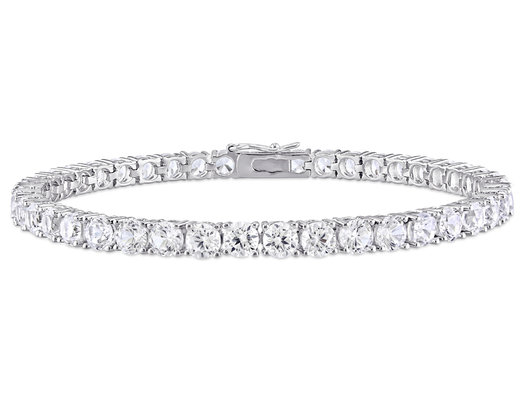 14.24 Carat (ctw) Lab-Created White Sapphire Tennis Bracelet in Sterling Silver
