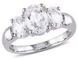 3-Stone Oval Created White Sapphire 3 1/2 Carat (ctw) Ring in Sterling Silver