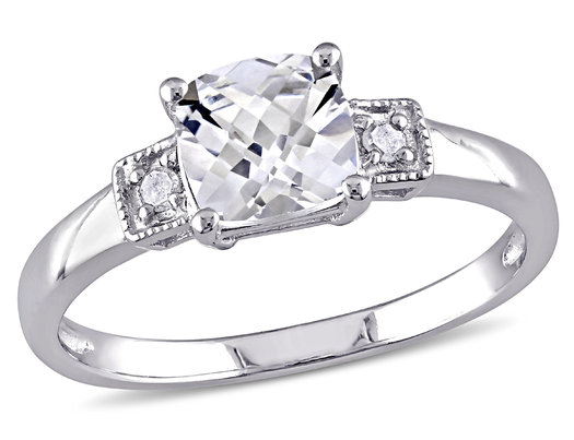1.25 Carat (ctw) Cushion-Cut Lab-Created White Sapphire Ring with Accent Diamonds in Sterling Silver