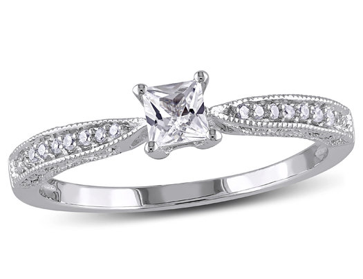 Lab-Created White Sapphire 1/4 Carat (ctw) Princess Cut Engagement Ring with Diamonds in Sterling Silver