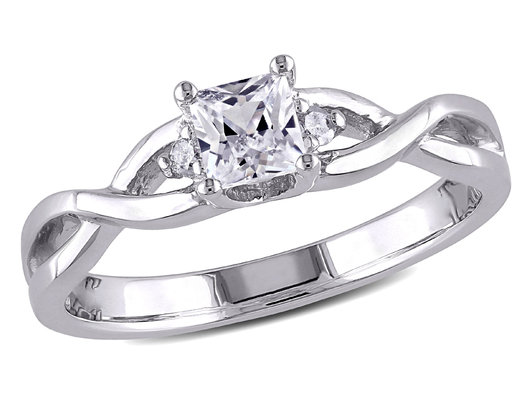 Princess Cut Created White Sapphire 3/8 Carat (ctw) Infinity Ring with Diamonds in Sterling Silver