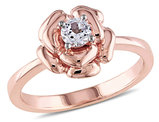 1/3 Carat (ctw) Lab-Created White Sapphire Floral Ring in Rose-plated Sterling Silver