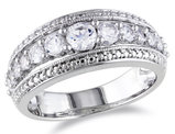 1 1/8 Carat (ctw) Lab Created White Sapphire Graduated Ring in Sterling Silver