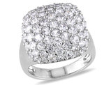 Created White Sapphire 4 3/4 Carat (ctw) Pave Cocktail Ring In Sterling Silver