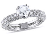 Created White Sapphire 2.7 Carat (ctw) Engagement Ring In Sterling Silver