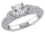 Created White Sapphire 1 2/3 Carat (ctw) Engagement Ring In Sterling Silver
