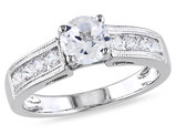1.50 Carat (ctw) Lab-Created White Sapphire Engagement Ring in Sterling Silver