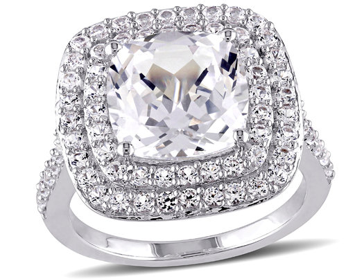 7.1 Carat (ctw) Cushion-Cut Created White Sapphire Double Halo Engagement Ring in Sterling Silver