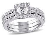 1.50 Carat (ctw) Lab Created White Sapphire Halo Bridal Engagement Ring and Band Set In Sterling Silver