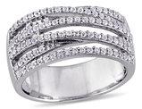 White Topaz 1/2 Carat (ctw) Crisscross Ring In Sterling Silver