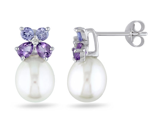 White Freshwater Cultured Pearl  8-8.5mm with Diamond, Tanzanite and Amethyst Stud Earrings In Sterling Silver
