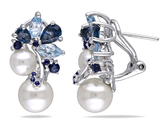White Freshwater Cultured Pearl, Blue Topaz and Sapphire 3.0 Carat (ctw) Cluster Earrings Sterling Silver
