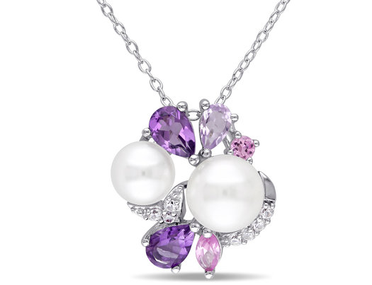 White Freshwater Cultured Pearl, Amethyst, Created Pink, White Sapphire Cluster Pendant Necklace Sterling Silver
