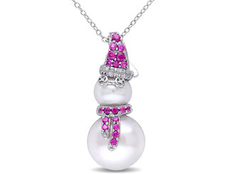 Freshwater Cultured Pearl, Created Ruby and Diamond 1/2 Carat (ctw) Snowman Pendant Necklace Sterling Silver