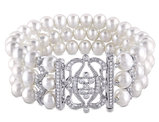 White Freshwater Cultured Pearl 6.5-7mm Bracelet with Cubic Zirconia In Sterling Silver