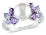 White Freshwater Cultured Pearl 8-8.5mm with Diamond and Tanzanite and Amethyst Ring In Sterling Silver