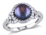 Black Freshwater Cultured Pearl 8.5-9mm and Cubic Ring In Sterling Silver