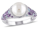 White Freshwater Cultured Pearl 8-8.5mm with Diamond 1/10 Carat (ctw) and Swiss Blue Topaz and Amethyst Ring In Sterling Silver